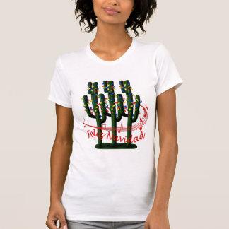 T-shirt de dames de Feliz Navidad d'arbre de