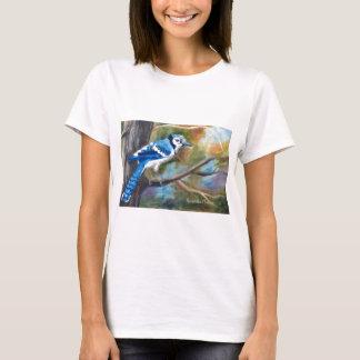 T-shirt de dames de geai bleu