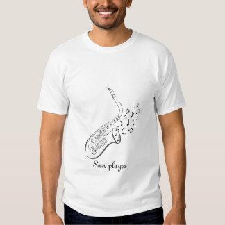 T-shirt de dessin d'encre du stylo n de saxophone