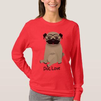 T-shirt de douille d'amour de carlin long