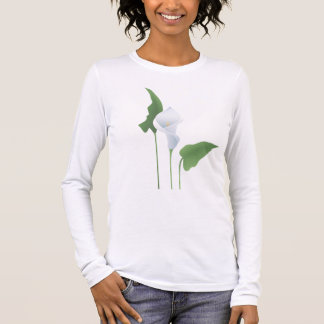 T-shirt de douille de dames de zantedeschia long