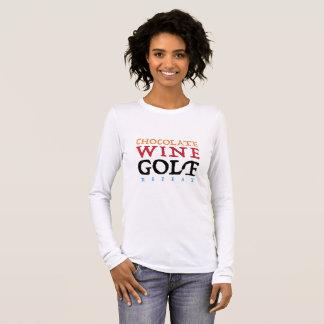 T-shirt de douille de golf de vin de chocolat long