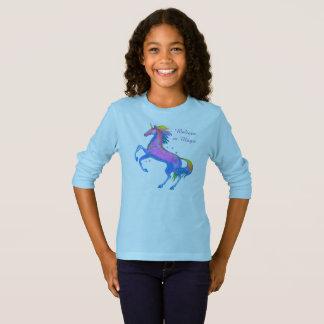 T-shirt de douille de licorne de filles long