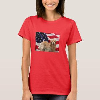 T-shirt de drapeau américain de golden retriever