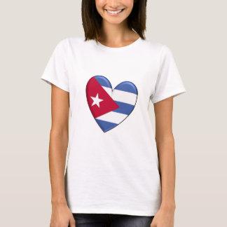 T-shirt de drapeau de coeur du Cuba