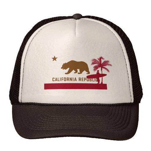 T-shirt de drapeau de la Californie - surfer sur l Casquettes