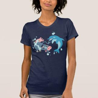 T-shirt de femmes de bande dessinée Seacow et de d