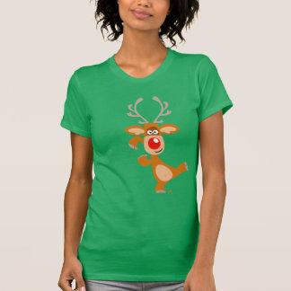 T-shirt de femmes de renne de Noël de bande