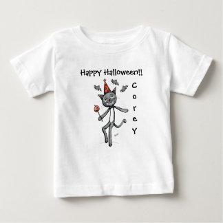 T-shirt de fête heureux de bébé de chat noir de