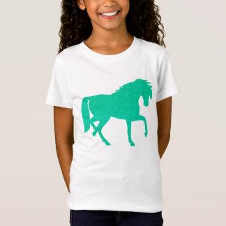 T-shirt de filles de cheval de scintillement de