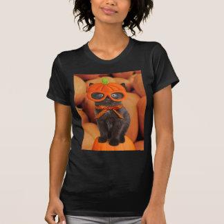T-shirt de Halloween de chaton de citrouille