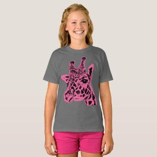 """T-shirt de Hanes TAGLESS® des filles de """"girafe"""""""