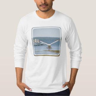 T-shirt de la douille des hommes de mouette long