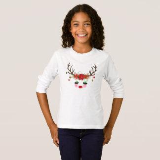 T-shirt de Long-douille de renne de Noël