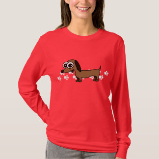 T-shirt de Longsleeve de teckel - rouge