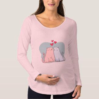 T-Shirt De Maternité Beaux chats tirés par la main avec la chemise de