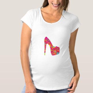 T-Shirt De Maternité Chaussure de talon haut, fleurs - bleu jaune rouge