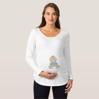 T-Shirt De Maternité Chemise de maternité de douille de bébé longue