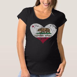 T-Shirt De Maternité Drapeau de République de la Californie de coeur