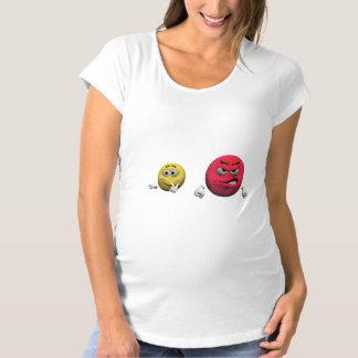 T-Shirt De Maternité Émoticône fâchée jaune et rouge ou smiley