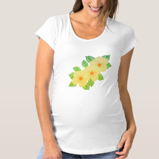 T-Shirt De Maternité trois fleurs jaunes