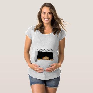 T-Shirt De Maternité Venez coutume bientôt semi-transparente de bébé