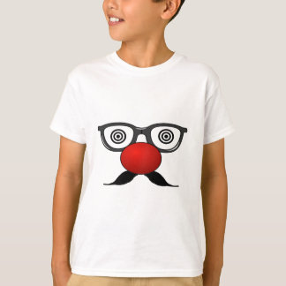 T-shirt De moustache étrange en verre de yeux de nez rouge