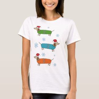 T-shirt de Noël de chiens de saucisse de teckel de