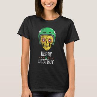 T-shirt de noir de crâne de Derby de rouleau