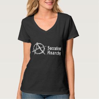 T-shirt de noir du V-cou des femmes succulentes