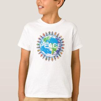 T-shirt de paix d'enfants - enfants tenant le