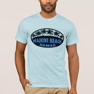 T-shirt de paumes de noir bleu d'Hawaï de plage de