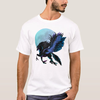 T-shirt de Pegasus noir et de lune bleue