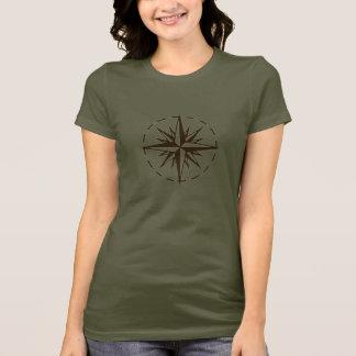T-shirt de rose de boussole de Brown