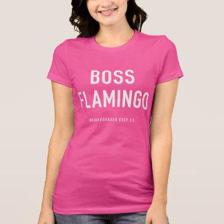 T-shirt de rose de flamant de patron