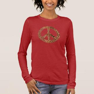T-shirt de signe de paix du guépard des femmes -
