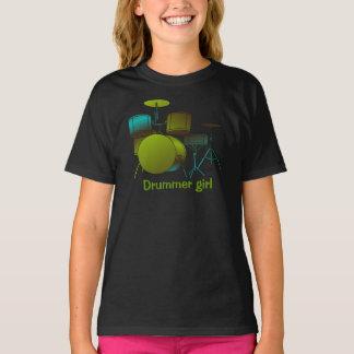 T-shirt de tambours vert/bleu avec le texte