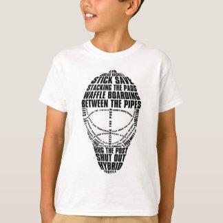 T-shirt de typographie de masque de gardien de but