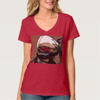 T-shirt de v-cou de phare de la voiture des femmes