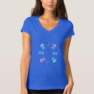 T-shirt de V-Cou du Jersey des femmes de méduses