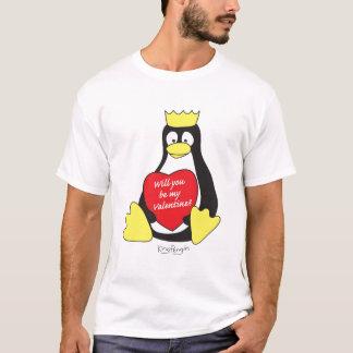 T-shirt de valentine de pingouin de roi