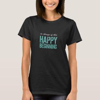 T-shirt Début heureux avec le texte fait sur commande