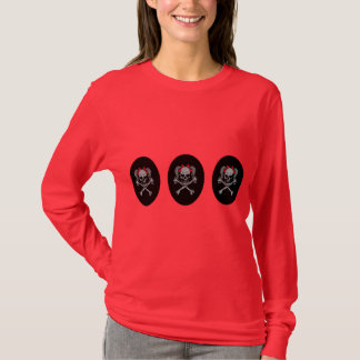 T-shirt Décalque de crâne de queue de cheval avec les arcs