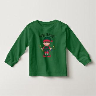 T-shirt d'elfe de Noël de garçons d'enfant en bas