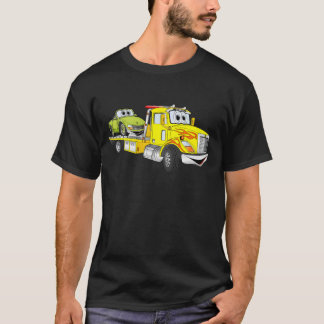 T-shirt Dépanneuse jaune de lit plat de bande dessinée