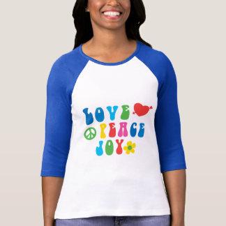 T-shirt des femmes de joie de paix d'amour le