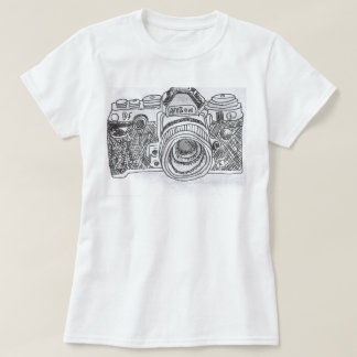 T-shirt Dessin au trait appareil-photo