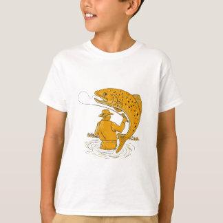 T-shirt Dessin tournoyant de truite de pêcheur de mouche