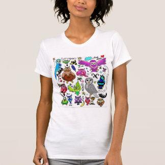 T-shirt Dessus décontracté de dames de hiboux