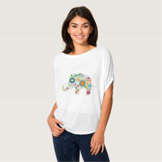 T-shirt Dessus floral lunatique d'éléphant